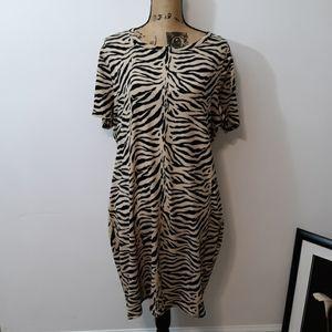 Forever 21 Tan & Black Zebra Print T-Shirt Dress